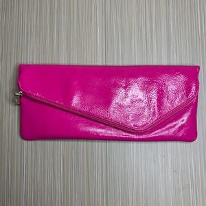 HOBO Pink Fold Over Clutch Patent Leather Purse